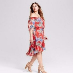 AVA & VIV off the Shoulder Floral Dress 1X